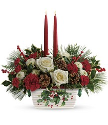 Teleflora's Halls Of Holly Centerpiece from Swindler and Sons Florists in Wilmington, OH