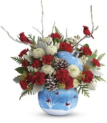 Teleflora's Cardinals In The Snow Ornament from Swindler and Sons Florists in Wilmington, OH