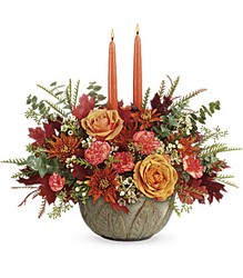 Teleflora's Artisanal Autumn Centerpiece from Swindler and Sons Florists in Wilmington, OH