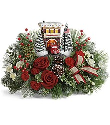 Thomas Kinkade's Festive Fire Station Bouquet from Swindler and Sons Florists in Wilmington, OH