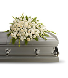 Silken Serenity Casket Spray from Swindler and Sons Florists in Wilmington, OH