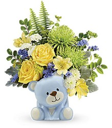Joyful Blue Bear Bouquet from Swindler and Sons Florists in Wilmington, OH