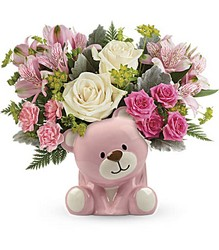 Precious Pink Bear Bouquet from Swindler and Sons Florists in Wilmington, OH