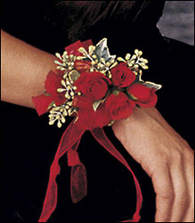 Red-Hot Roses Wristlet from Swindler and Sons Florists in Wilmington, OH
