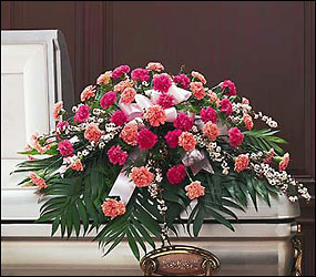 Delicate Pink Casket Spray from Swindler and Sons Florists in Wilmington, OH