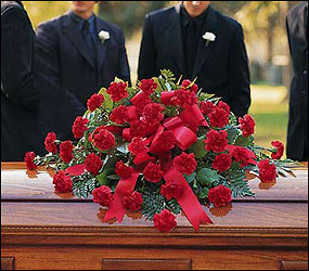 Red Regards Casket Spray from Swindler and Sons Florists in Wilmington, OH