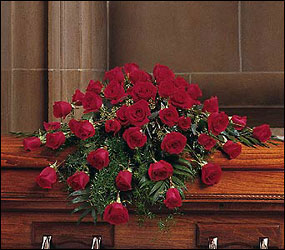 Blooming Red Roses Casket Spray from Swindler and Sons Florists in Wilmington, OH