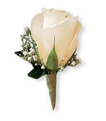 White Ice Rose Boutonniere from Swindler and Sons Florists in Wilmington, OH
